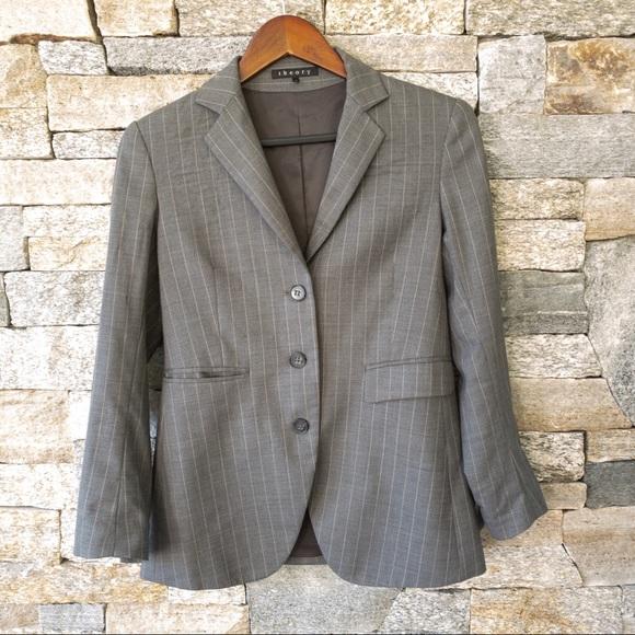 Theory Jackets & Blazers - Theory pinstripe dark grey blazer in size 6